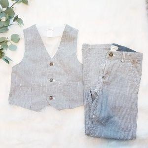 GYMBOREE Dressed Up Seersucker Vest Pant Suit 7-8